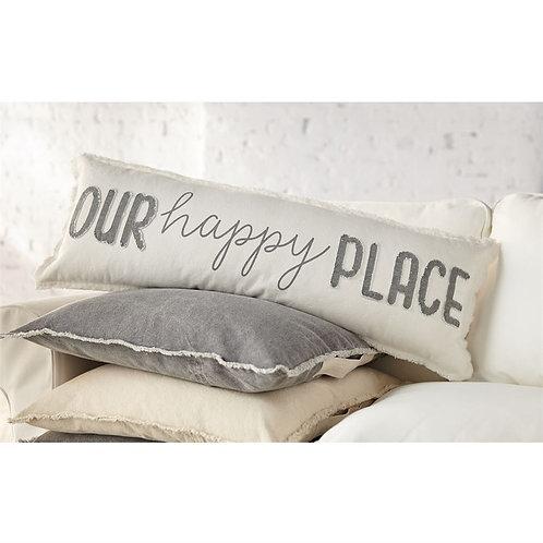 Our Happy Place Long Canvas Pillow