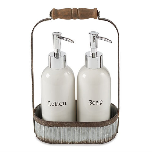 Lotion & Soap Pump Tin Caddy Set
