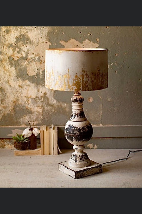 metal table top lamp with metal shade