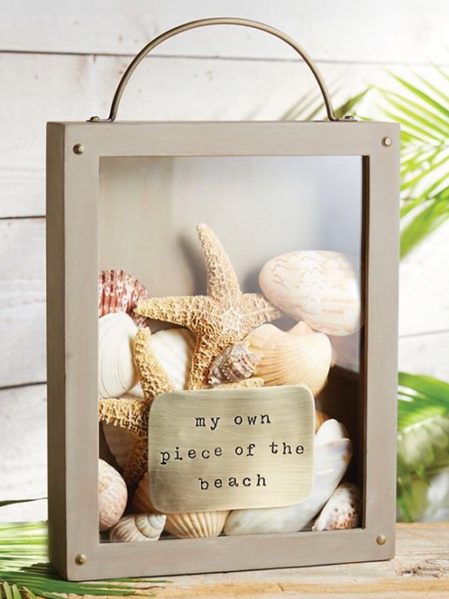 PIECE OF THE BEACH WOOD SHELL COLLECTION BOX