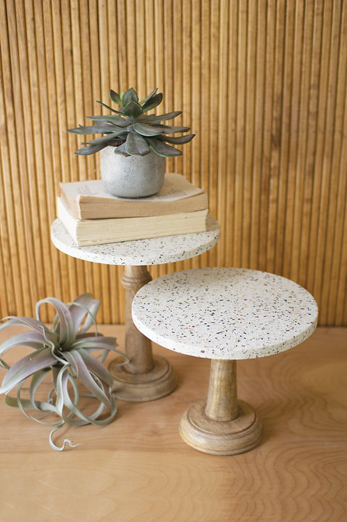terrazzo pedestals with wood base
