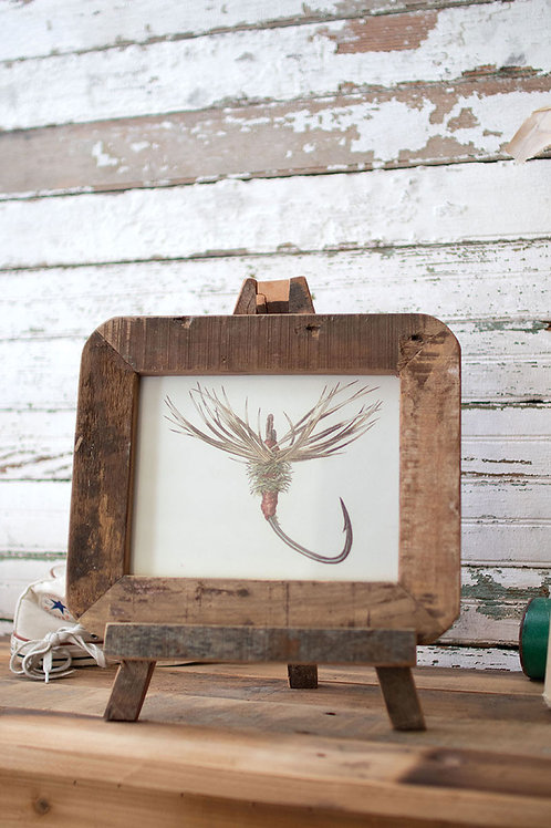 recycled wood photo frame on a easel