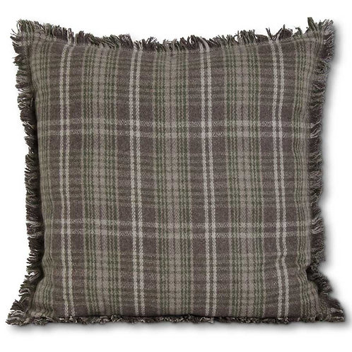 TAN AND GREEN PLAID WOOL PILLOW