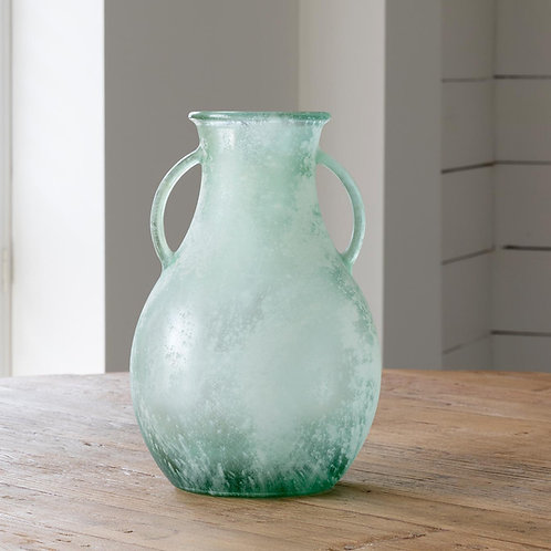 Glass Vase with Handles, Frosted Seafoam