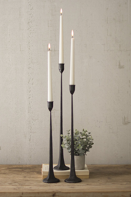 Set of 3 tall cast iron taper candle holders