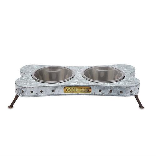 Tin Dog Bowl Stand