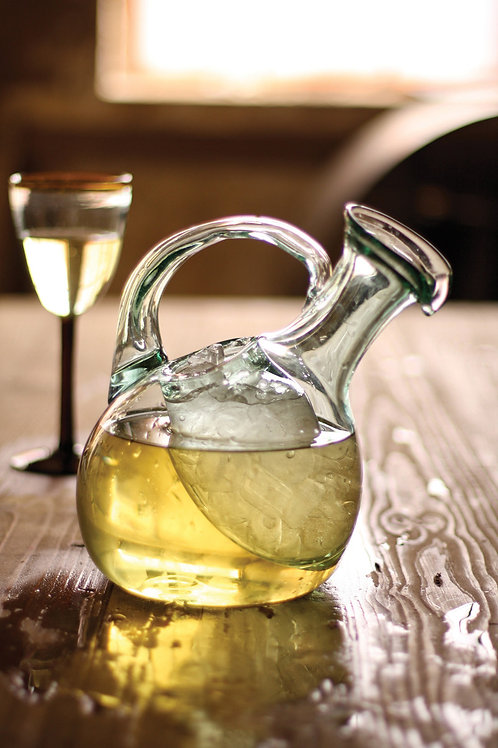 Tilted Wine Pitcher with Ice Pocket
