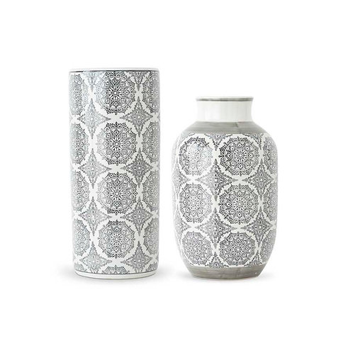 Ceramic Containers with Gray Patterned Design