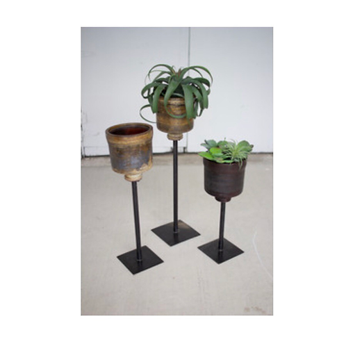 set of 3 repurposed fiberglass planters with iron stands