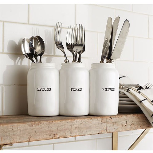 Triple Ceramic Jar Circa Utensil Holder