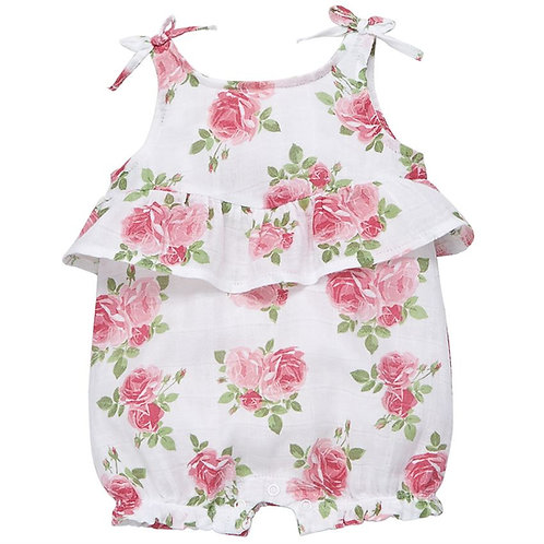 Muslin Pink Rose Bubble Romper