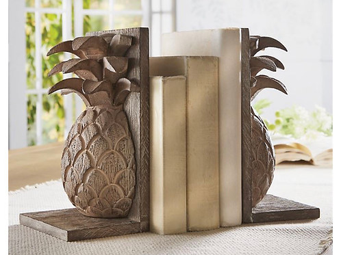 PINEAPPLE HAND-CARVED WOOD BOOKEND