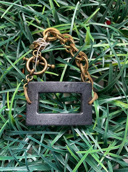 Rectangle on Gold Chain