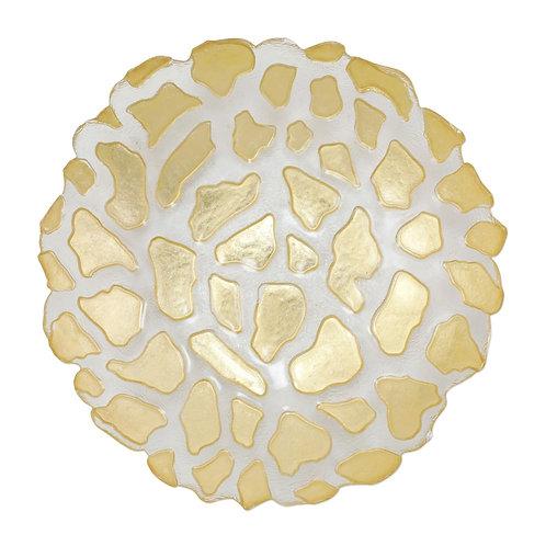 RUFOLO GLASS GOLD GIRAFFE MEDIUM SHALLOW BOWL