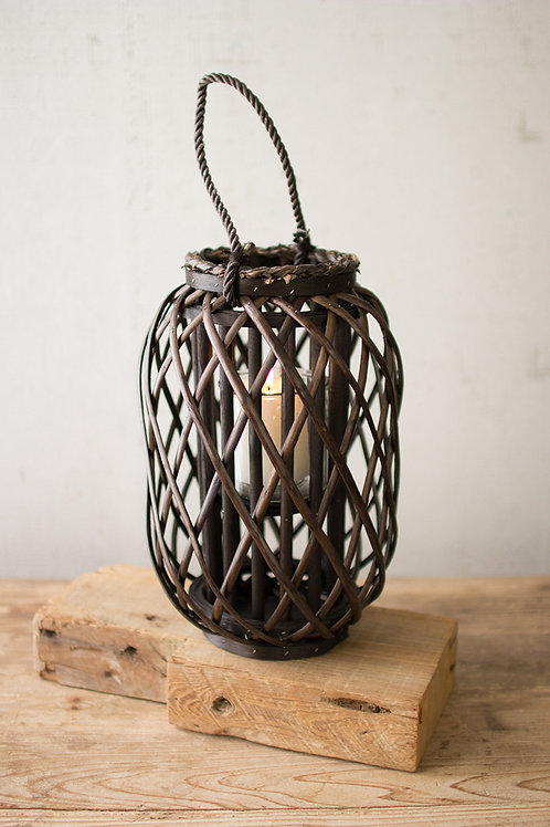 dark brown willow lantern with glass
