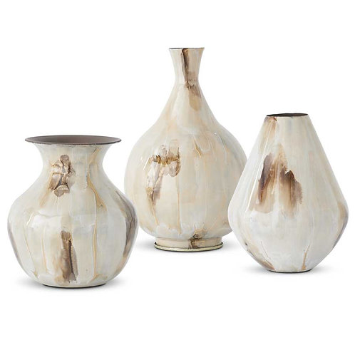 Ecru Enameled Vases With Watercolor Effect (Grad Sizes)