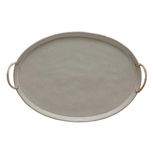 Stoneware Platter w/ Rattan Wrapped Handles
