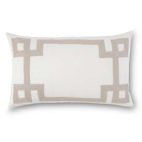 19 Inch Rectangular White Linen Pillow w/Tan Geometric Pattern