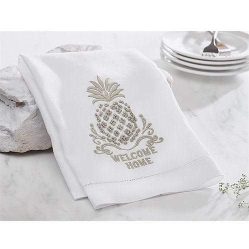 Welcome Home French Knot Pineapple Hand Towel