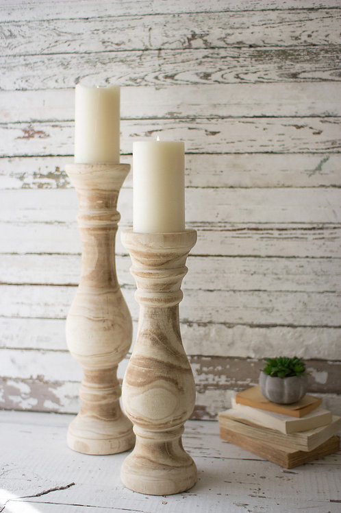 HAND CARVED WOODEN CANDLE STICKS
