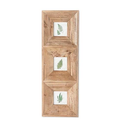 Triple Fern Prints In Wooden Frame