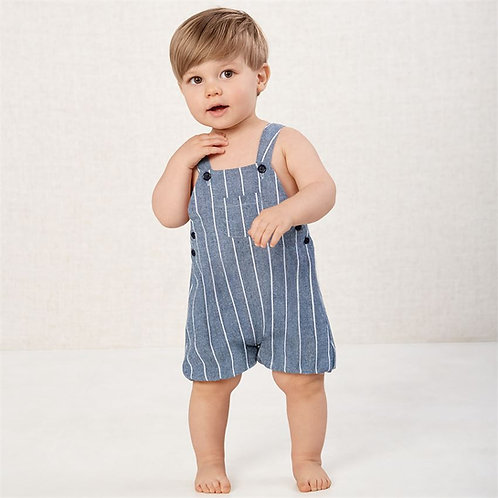 Ticking Stripe Chambray Bubble Overalls