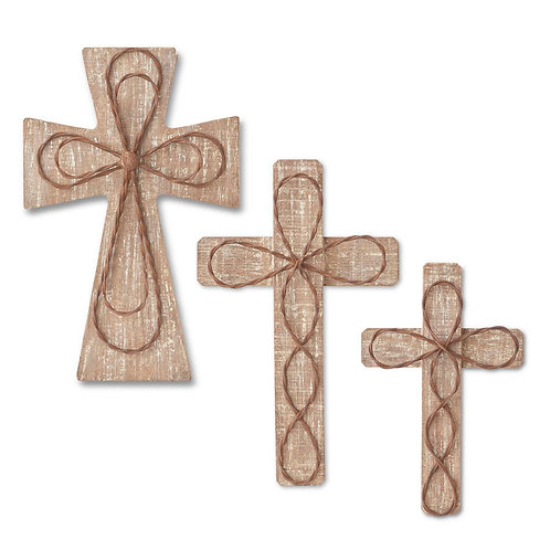 Wooden Wall Hanging Crosses with Rusty Metal Detail
