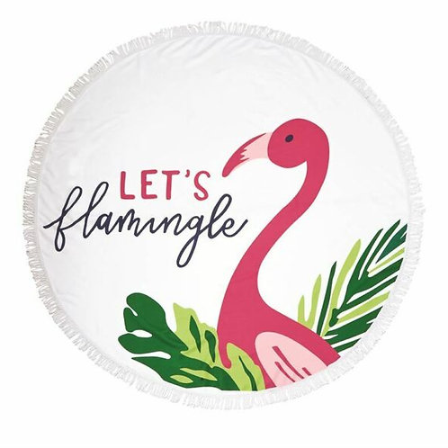 LET'S FLAMINGLE ROUND BEACH TOWEL