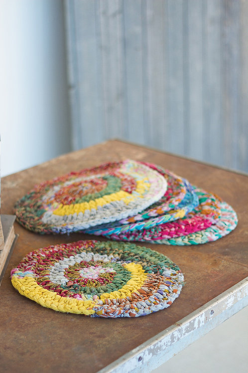 Round knitted kantha placemats