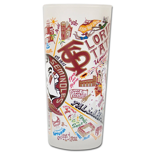 Florida State University Collegiate Drinking Glass