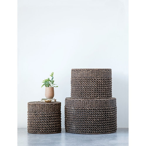 Natural Woven Water Hyacinth Ottomans/Tables, Black, Set of 3