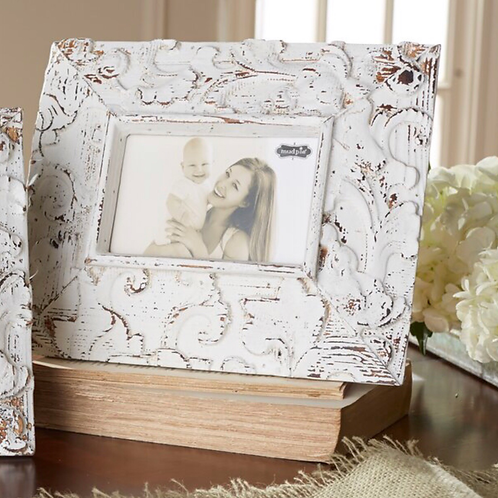 Distressed Wood 3.5-Inch x 5.5-Inch Photo Frame in White