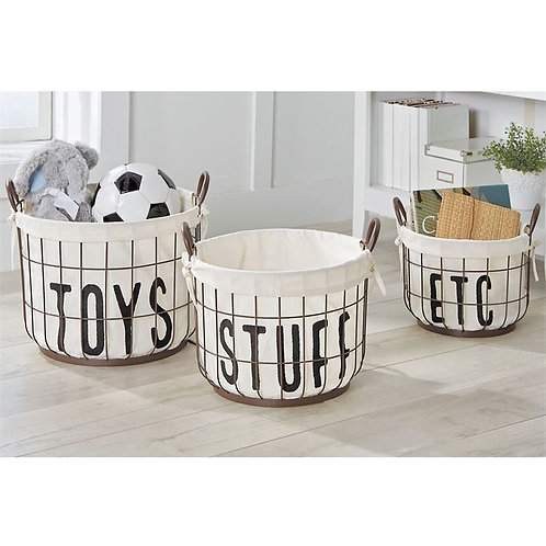 3 Piece Wire and Canvas Toy Basket Set