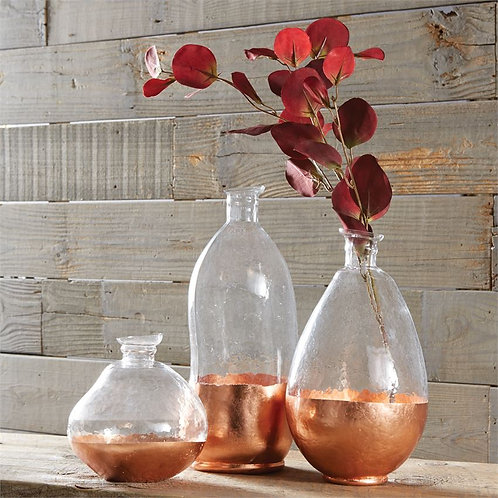 Copper Faceted Glass Vases