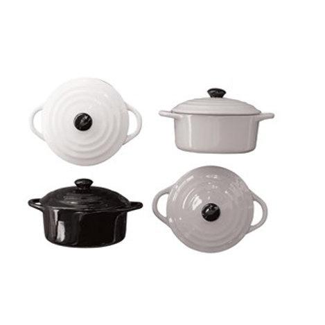 "5"" Round Stoneware Mini Baker w/ Lid"