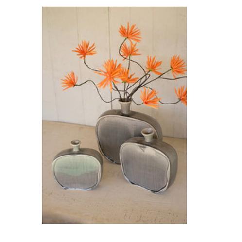 set of 3 ceramic flat bottles with textured grey finish