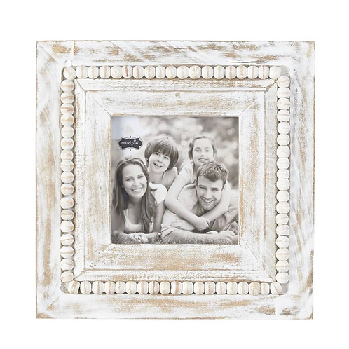 SQUARE WHITEWASH BEADED PICTURE FRAME