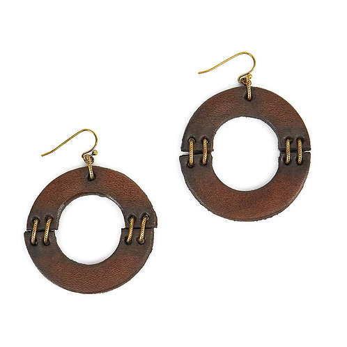 Hinged Leather Circle Earring