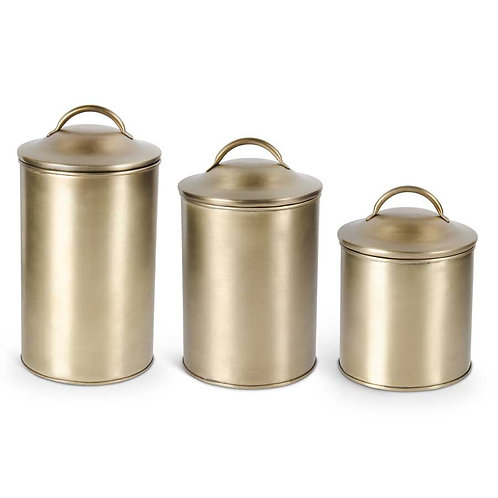 Set of 3 Brushed Gold Lidded Containers