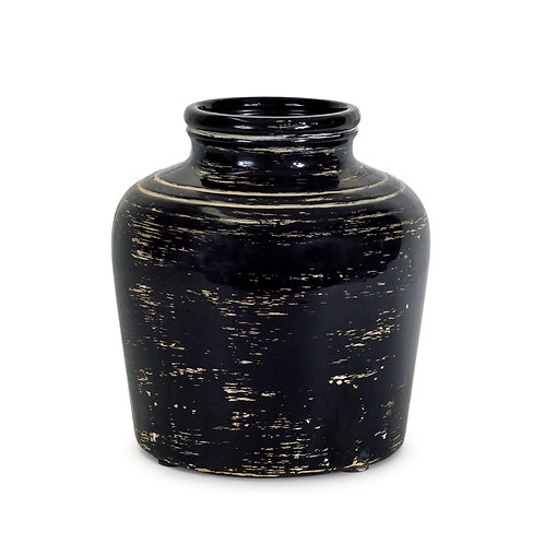 Black Distressed Vase