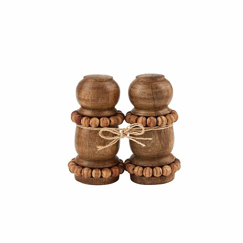BEADED WOOD SALT & PEPPER SHAKERS