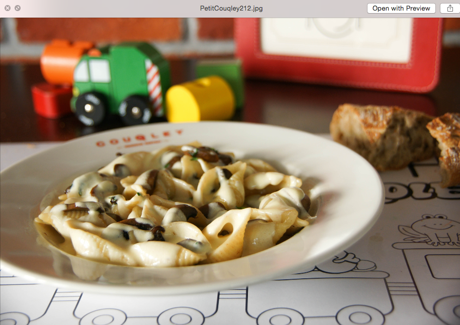 Pasta on White Sauce with Mushrooms