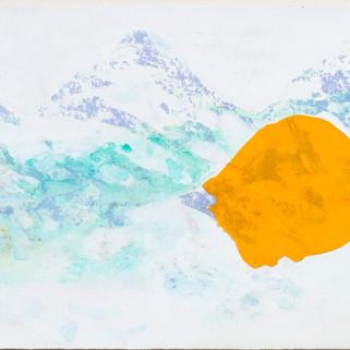 Alpenglühen, 2007, 38 x 100 cm, Siebdruck/ Mischtechnik