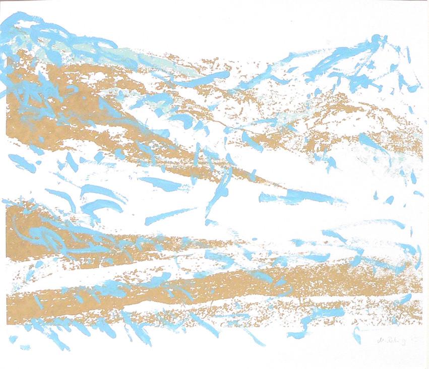 Endlich Schnee 2, 2011, 40 x 49,7 cm, Siebdruckübermalung auf Papier