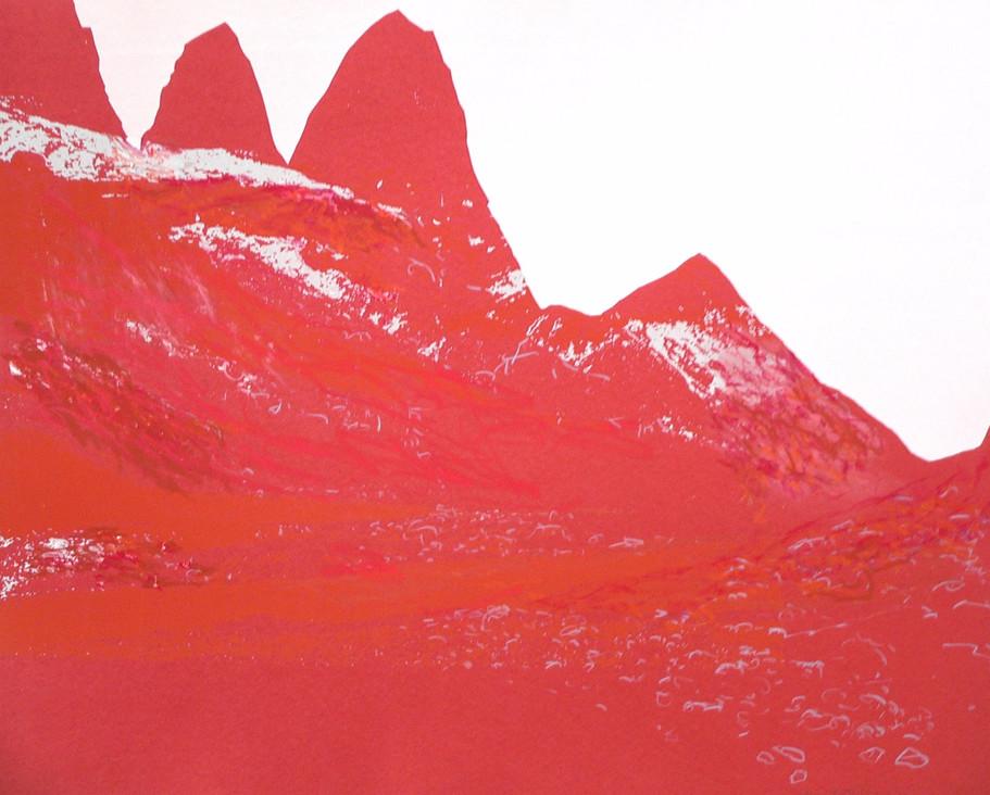Die Roten, 2013, 64 x 77 cm, Siebdruckübermalung auf Büttenpapier