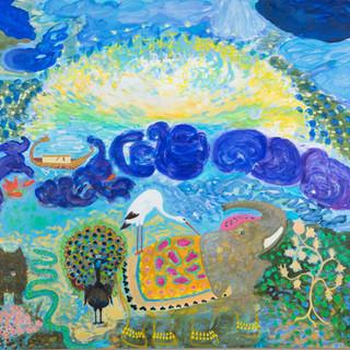 """""""Die Sonne küsste die Erde und wir verließen die Arche"""", 2014/15, 190 x 200 cm, oil on canvas"""
