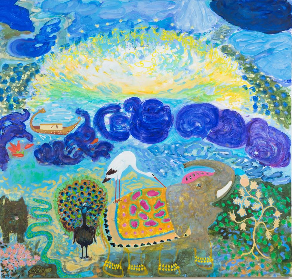 Die Sonne küsste die Erde und wir verließen die Arche, 2014/15, 190 x 200 cm, oil on canvas