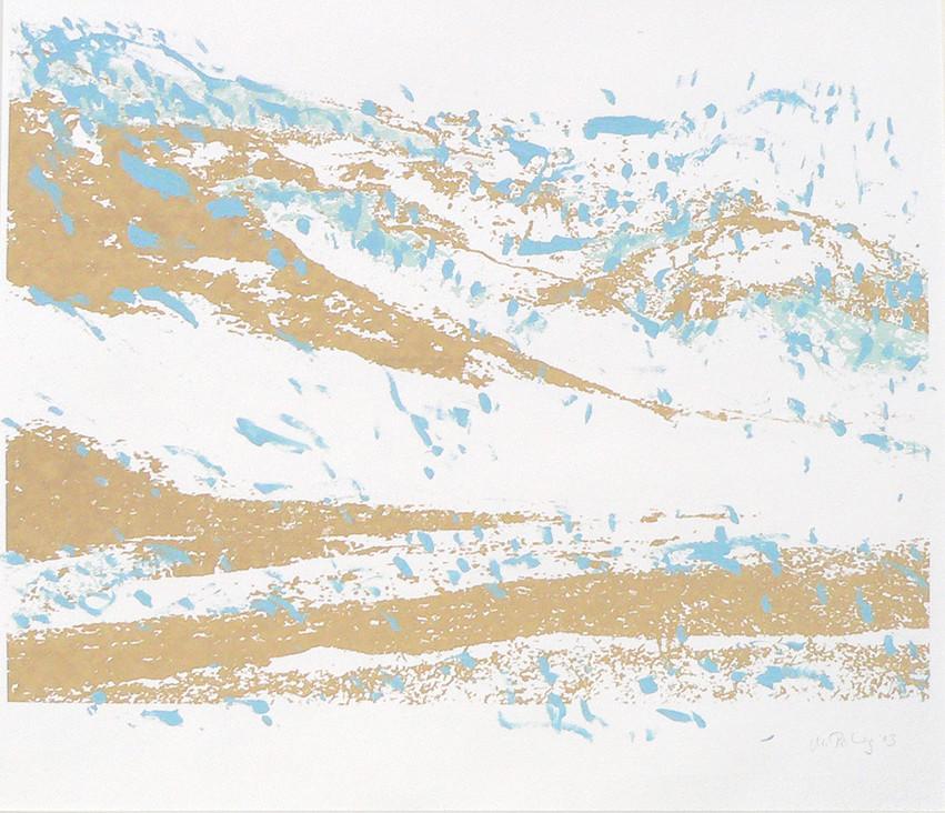 Endlich Schnee 1, 2011, 40 x 49,7 cm, Siebdruckübermalung auf Papier