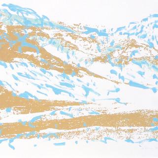 Endlich Schnee 4, 2011, 40 x 50 cm, Siebdruckübermalung