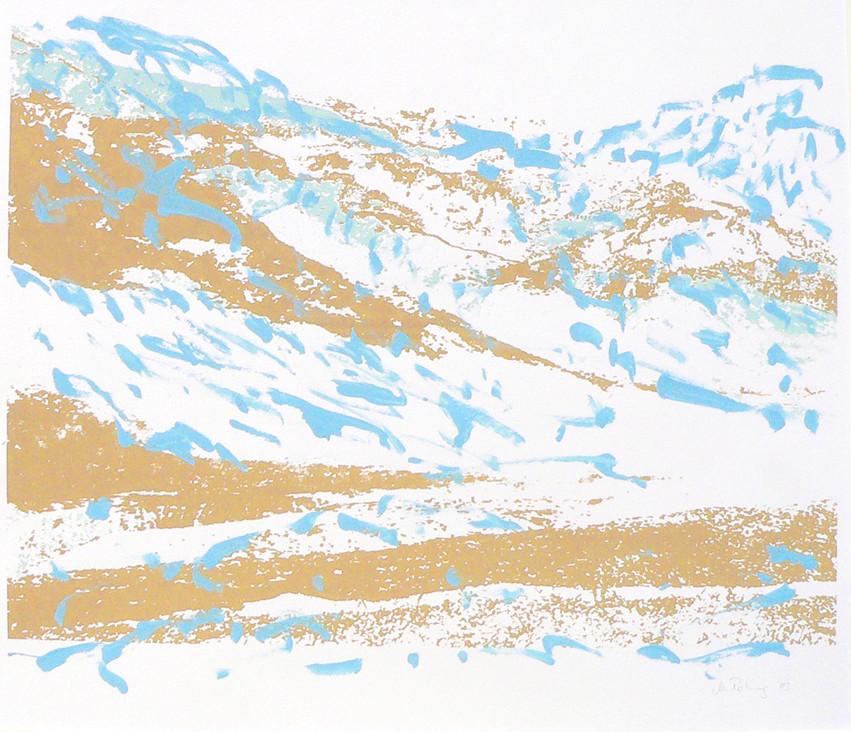 Endlich Schnee 4, 2011, 40 x 49,7 cm, Siebdruckübermalung auf Papier